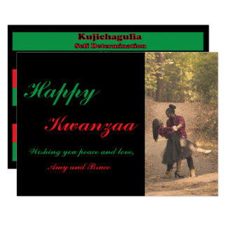 Happy Kwanzaa Red Green Black Customizable Photo Card