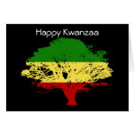 Happy Kwanzaa with tree in African colours Greeting Card