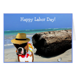 Happy Labor Day Boxer greeting card