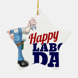 Happy Labor Day Worker Design Ceramic Star Ornament
