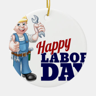 Happy Labor Day Worker Design Round Ceramic Ornament