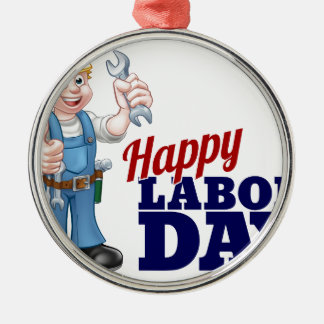 Happy Labor Day Worker Design Silver-Colored Round Ornament