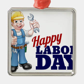 Happy Labor Day Worker Design Silver-Colored Square Ornament