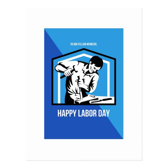 Happy Labour Day Fellow Workforce Retro Poster Postcard