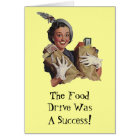 Happy Lady Food Drive Groceries Thank You Cards TY