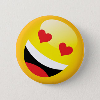 Happy Laughing Love Heart Emoji Face Party 2 Inch Round Button