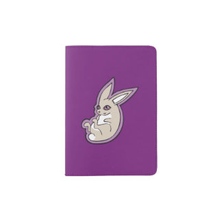 Happy Lavender Rabbit Pink Eyes Ink Drawing Design Passport Holder