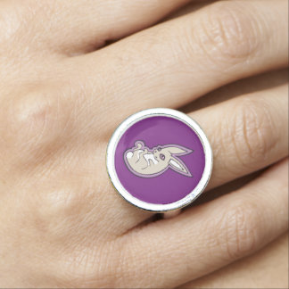 Happy Lavender Rabbit Pink Eyes Ink Drawing Design Photo Rings
