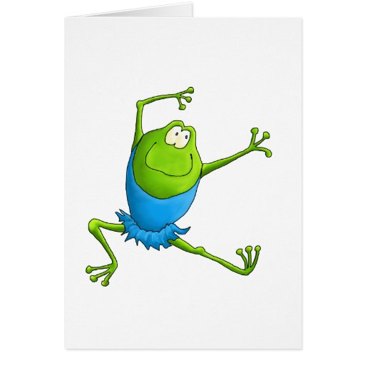 Happy Leaping Ballet Frog Greeting Cards
