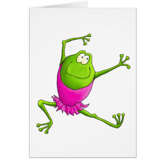 Happy Leaping Ballet Frog Card
