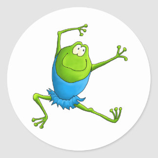 Happy Leaping Ballet Frog Round Sticker