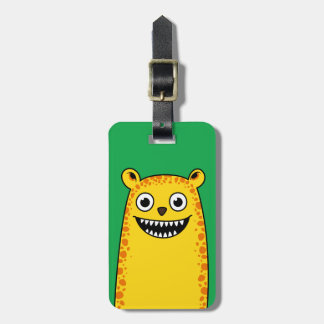 Happy leopard luggage tag