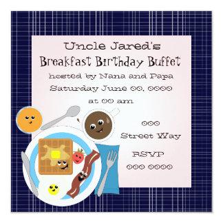"""Happy Little Breakfast 5.25"""" Square Invitation Card"""