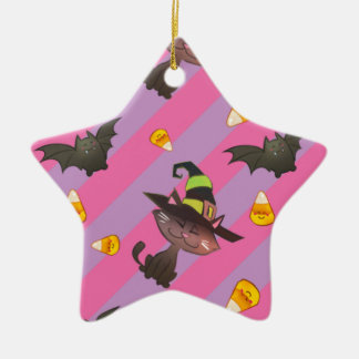 Happy Little Halloween Bat and Cat Ceramic Ornament