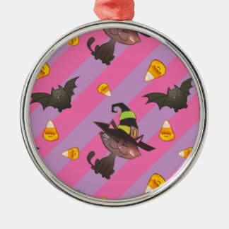 Happy Little Halloween Bat and Cat Metal Ornament