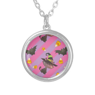 Happy Little Halloween Bat and Cat Silver Plated Necklace