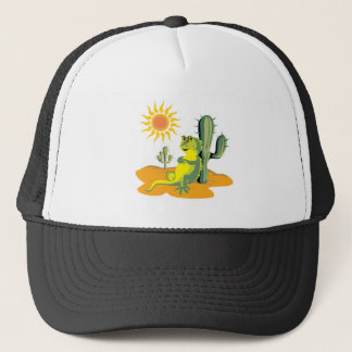 happy lizard in desert trucker hat