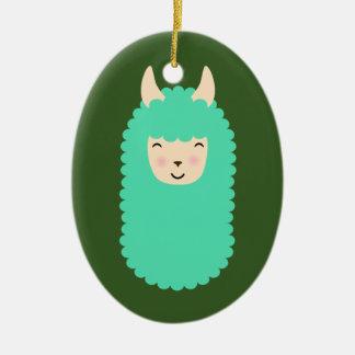 Happy Llama Emoji Ceramic Oval Ornament