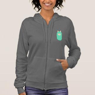 Happy Llama Emoji Women's Zip Up Hooded Sweatshirt