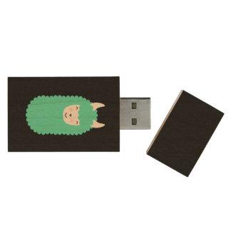 Happy Llama Emoji Wood USB Flash Drive