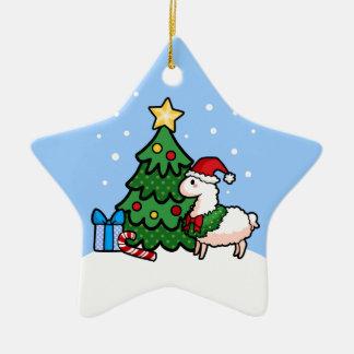 Happy Llamadays Double-Sided Star Ceramic Christmas Ornament