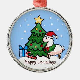 Happy Llamadays Round Metal Christmas Ornament