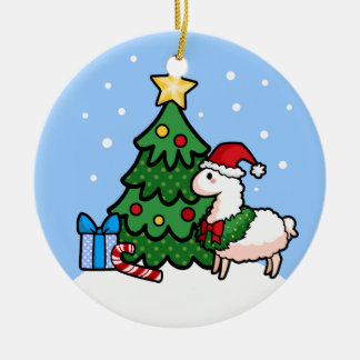 Happy Llamadays Double-Sided Ceramic Round Christmas Ornament