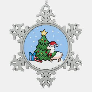 Happy Llamadays Pewter Snowflake Ornament