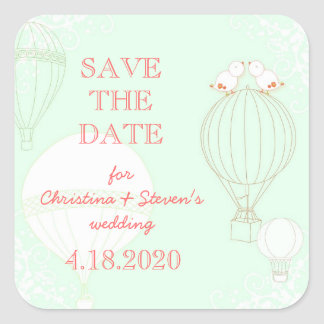 Happy Love Birds + Balloons Save the Date Stickers