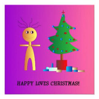 """Happy Loves Xmas"">Cute Childrens Xmas card Invitations"