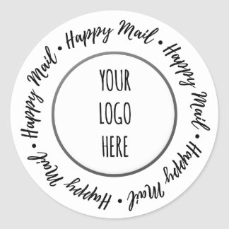 Happy Mail Script • Shop Branding Classic Round Sticker