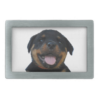 Happy Male Rottweiler Puppy Belt Buckle