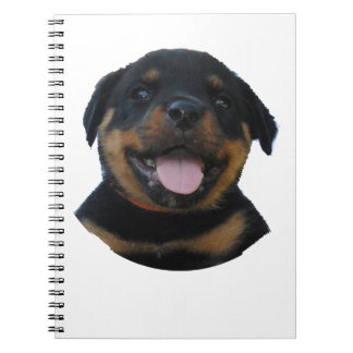 Happy Male Rottweiler Puppy Spiral Notebook