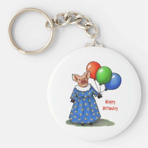 Happy Mama Pig With Balloons: Color Pencil Keychains