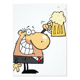 "happy man cartoon celebrating with beer 6.5"" x 8.75"" invitation card"