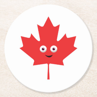 Happy Maple Leaf Round Paper Coaster