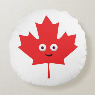 Happy Maple Leaf Round Pillow