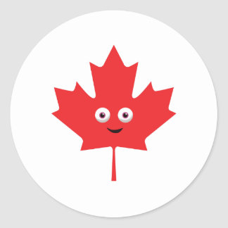Happy Maple Leaf Round Sticker