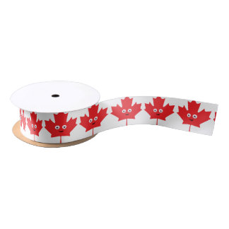 Happy Maple Leaf Satin Ribbon