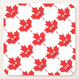 Happy Maple Leaf Square Paper Coaster