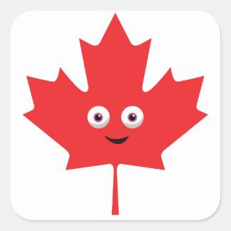 Happy Maple Leaf Square Sticker