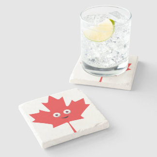 Happy Maple Leaf Stone Coaster