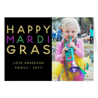 Happy Mardi Gras - ADD Family PHOTO Card