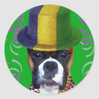 Happy Mardi Gras Boxer stickers