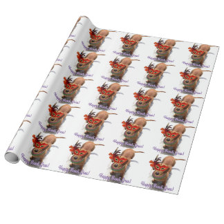 Happy Mardi Gras Dachsund dog Wrapping Paper