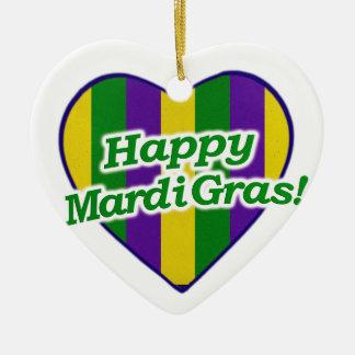 Happy Mardi Gras Logo Ceramic Ornament