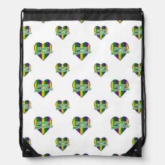 Happy Mardi Gras Logo Drawstring Bag