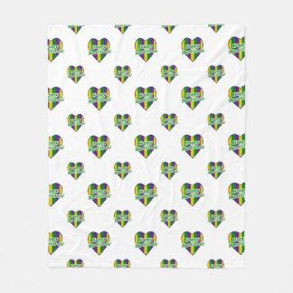Happy Mardi Gras Logo Fleece Blanket