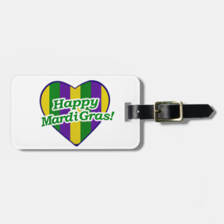 Happy Mardi Gras Logo Luggage Tag
