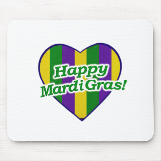 Happy Mardi Gras Logo Mouse Pad